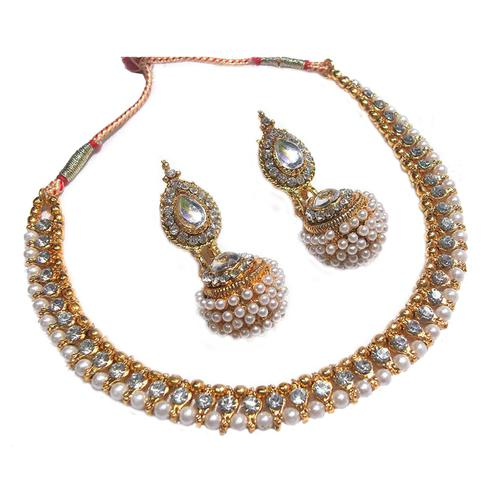 Golden Big Gota Pearl Polki Necklace Set