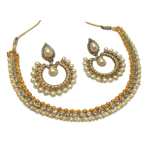White Stone Tilak Pearl Polki Necklace Set