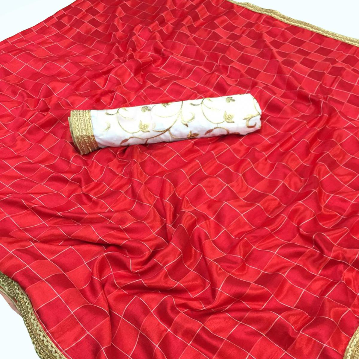 Amazing Red Colored Partywear Art Silk Saree