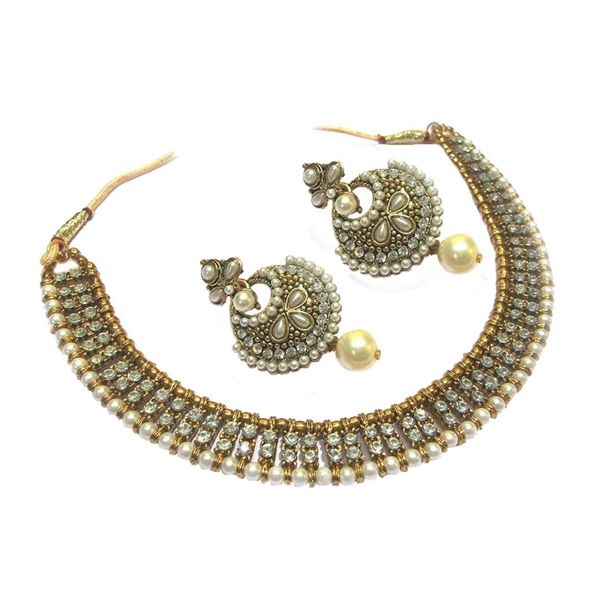 Antique Pearl Stone Polki Necklace Set