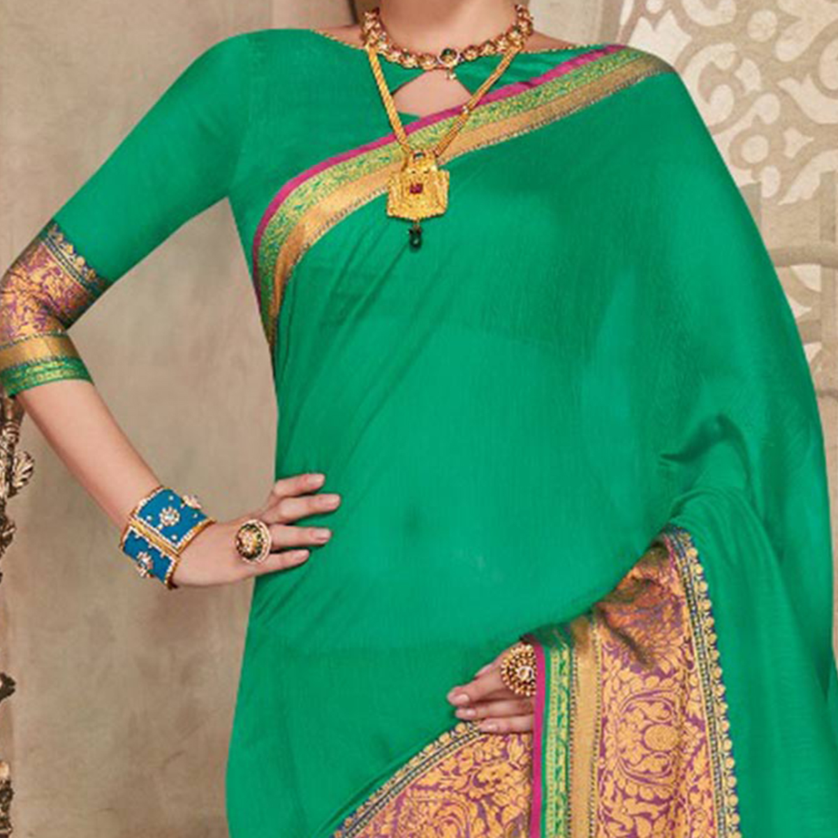 Green Designer Festive Wear Woven Liva Silk Saree