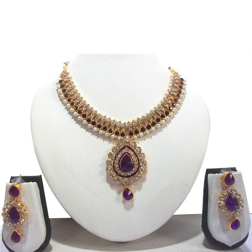 Purple Pearl Bridal Necklace Set