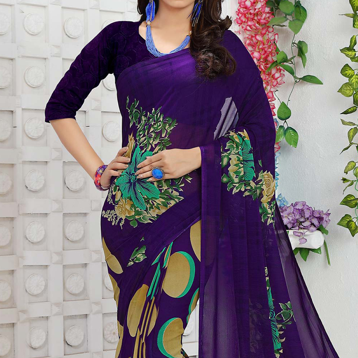 Purple Casual Wear Georgette Saree