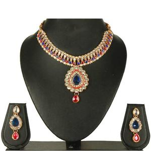 Blue - Pink Pearl Necklace Set