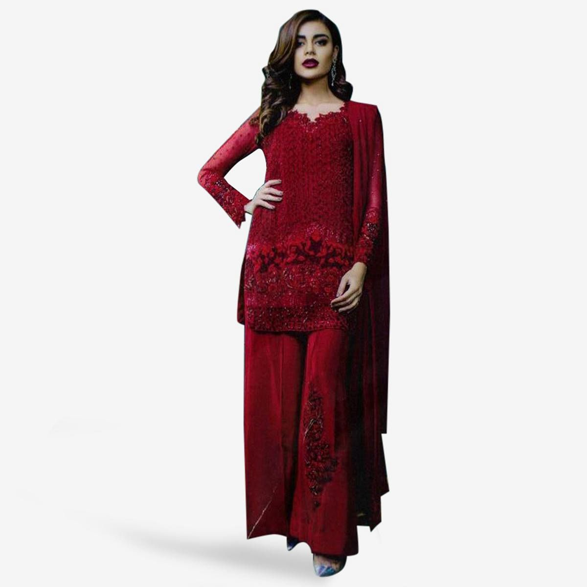 Stunning Crimson Red Colored Partywear Embroidered Georgette Palazzo Suit