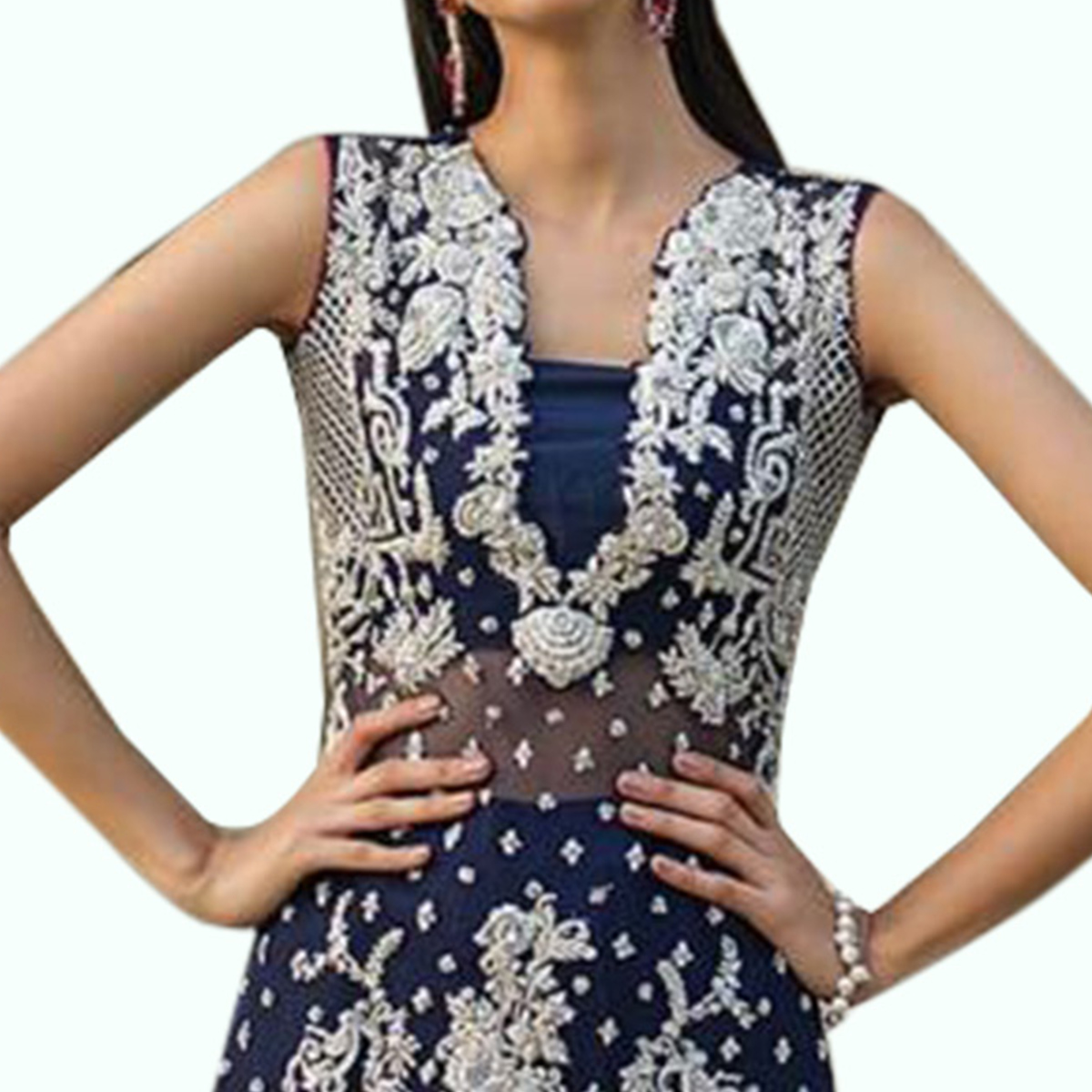 Marvellous Navy Blue Colored Partywear Embroidered Netted Pant Style Suit