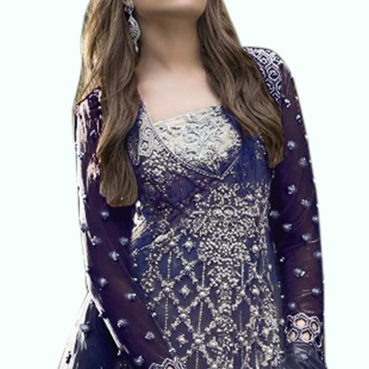 Exceptional Blue Colored Partywear Embroidered Netted Pant Style Suit