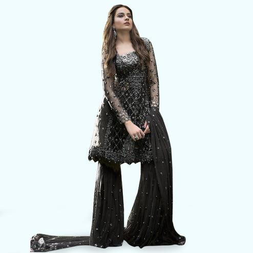 Fantastic Dark Gray Colored Partywear Embroidered Netted Pant Style Suit