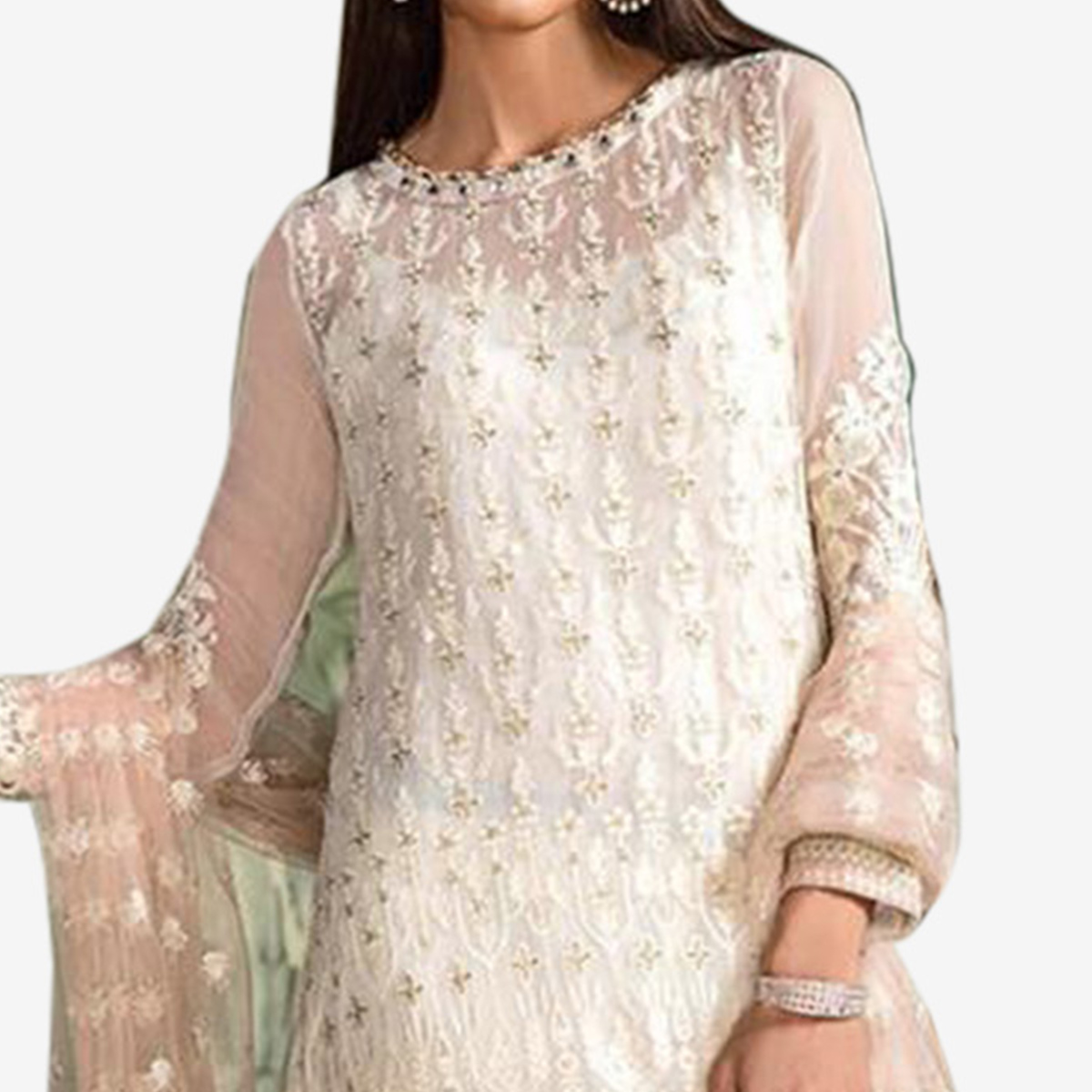 Alluring White Colored Partywear Embroidered Georgette Pant Style Suit