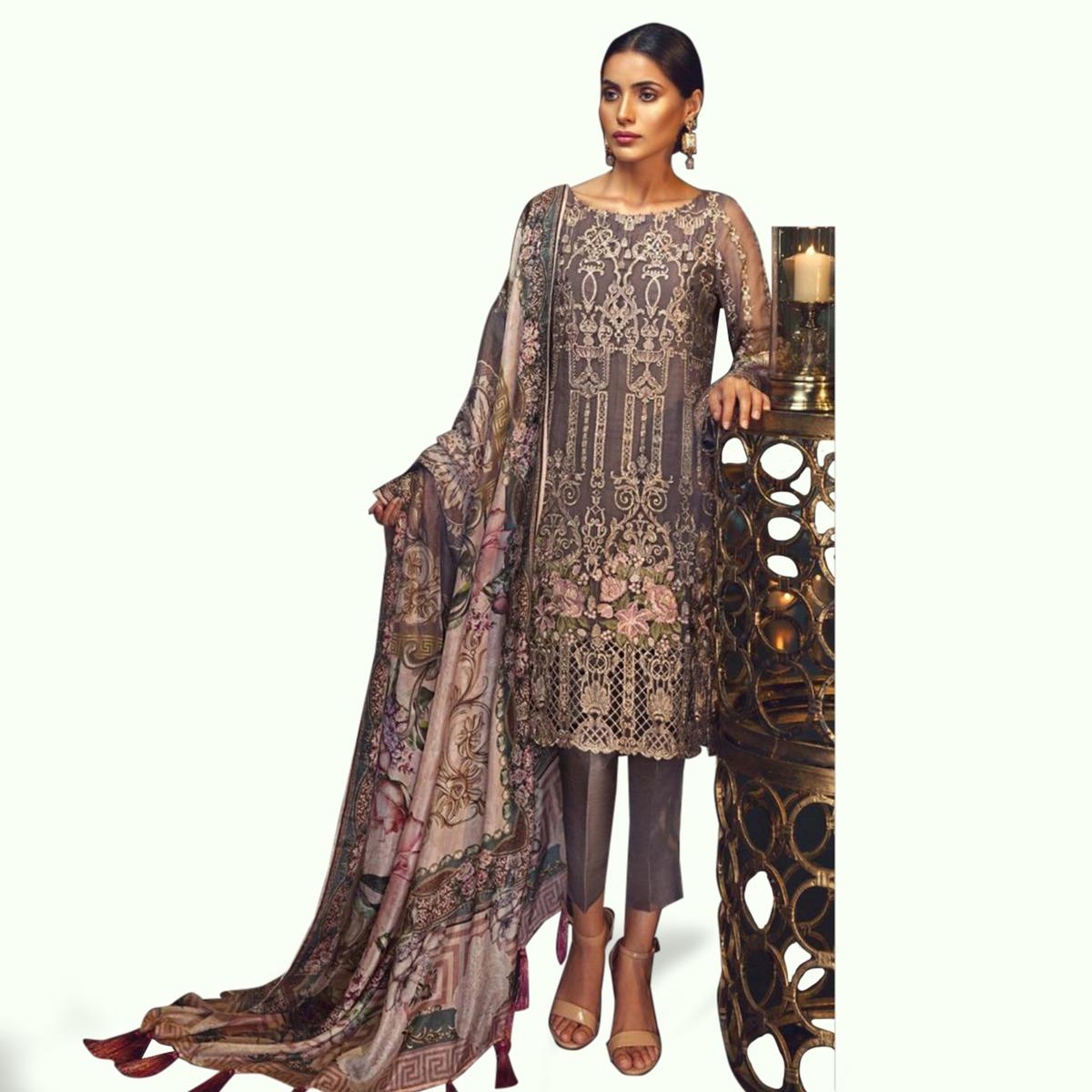 Opulent Gray Colored Partywear Embroidered Georgette Pant Style Suit