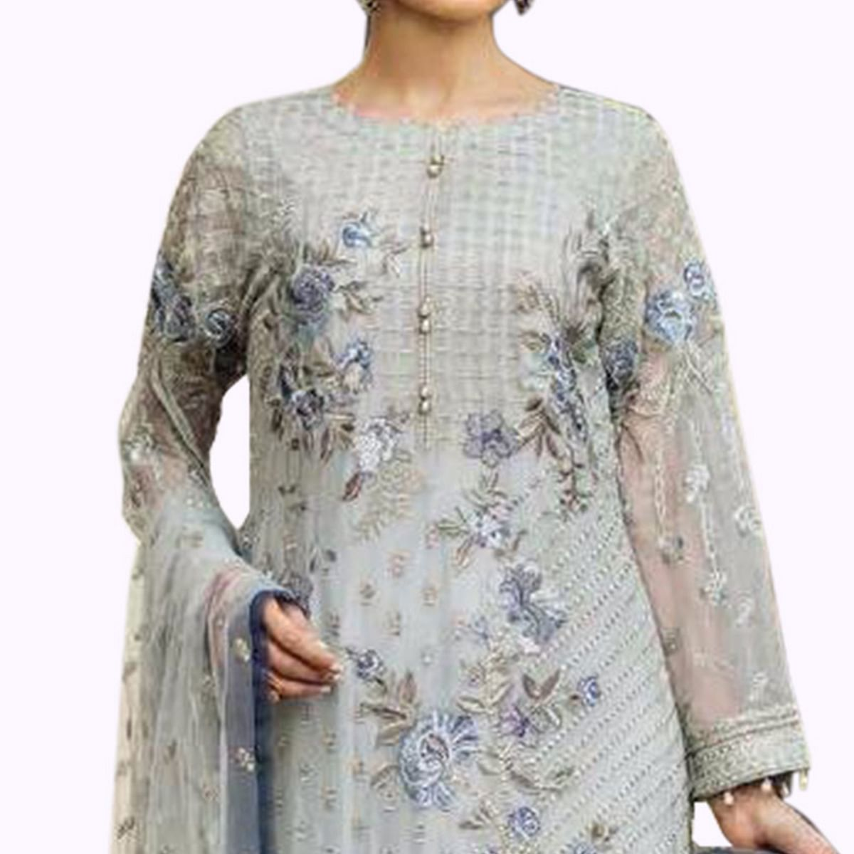 Sophisticated Light Gray Colored Partywear Embroidered Georgette Pant Style Suit