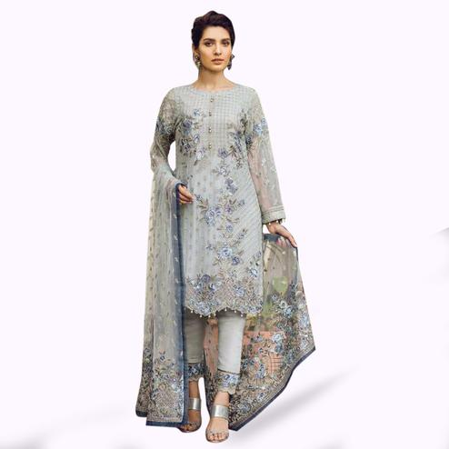 223fd78adf Sophisticated Light Gray Colored Partywear Embroidered Georgette Pant Style  Suit