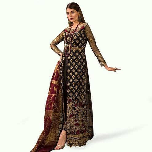 Flamboyant Black Colored Partywear Embroidered Netted Pant Style Suit