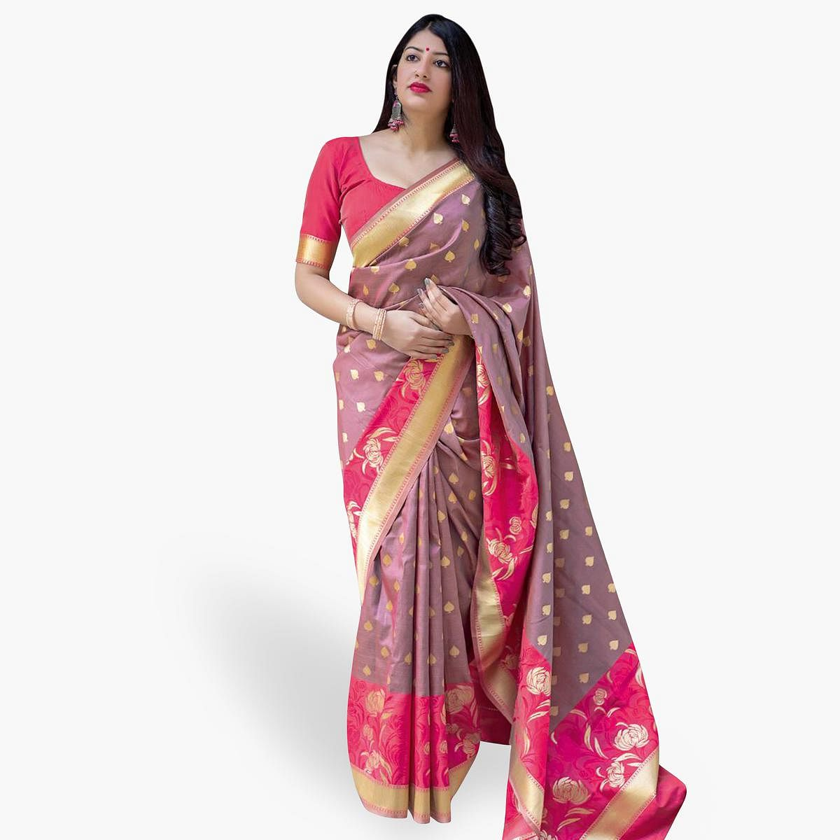 Demanding Mauve Colored Festive Wear Woven Silk Saree