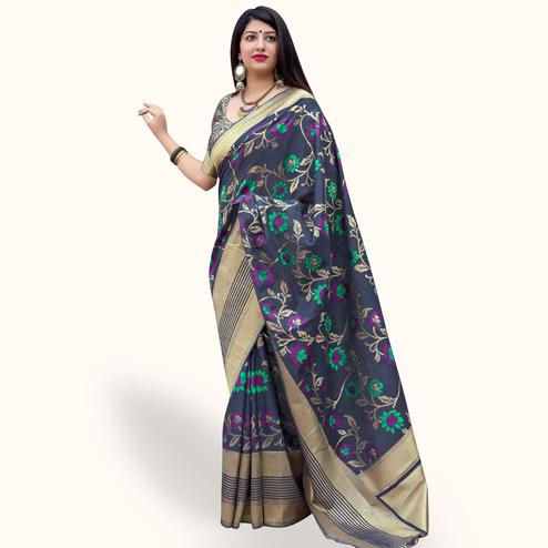 Trendy Navy Blue Colored Festive Wear Woven Silk Saree