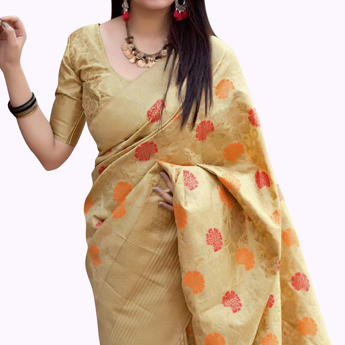 Traditional Beige Colored Festive Wear Woven Silk Saree