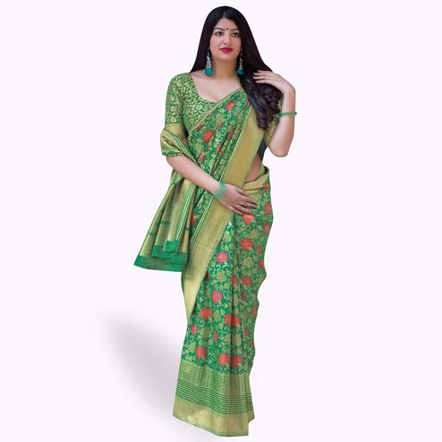 Opulent Green Colored Festive Wear Woven Silk Saree