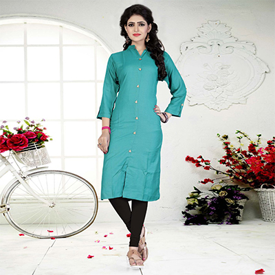 Green Casual Wear Rayon Kurti