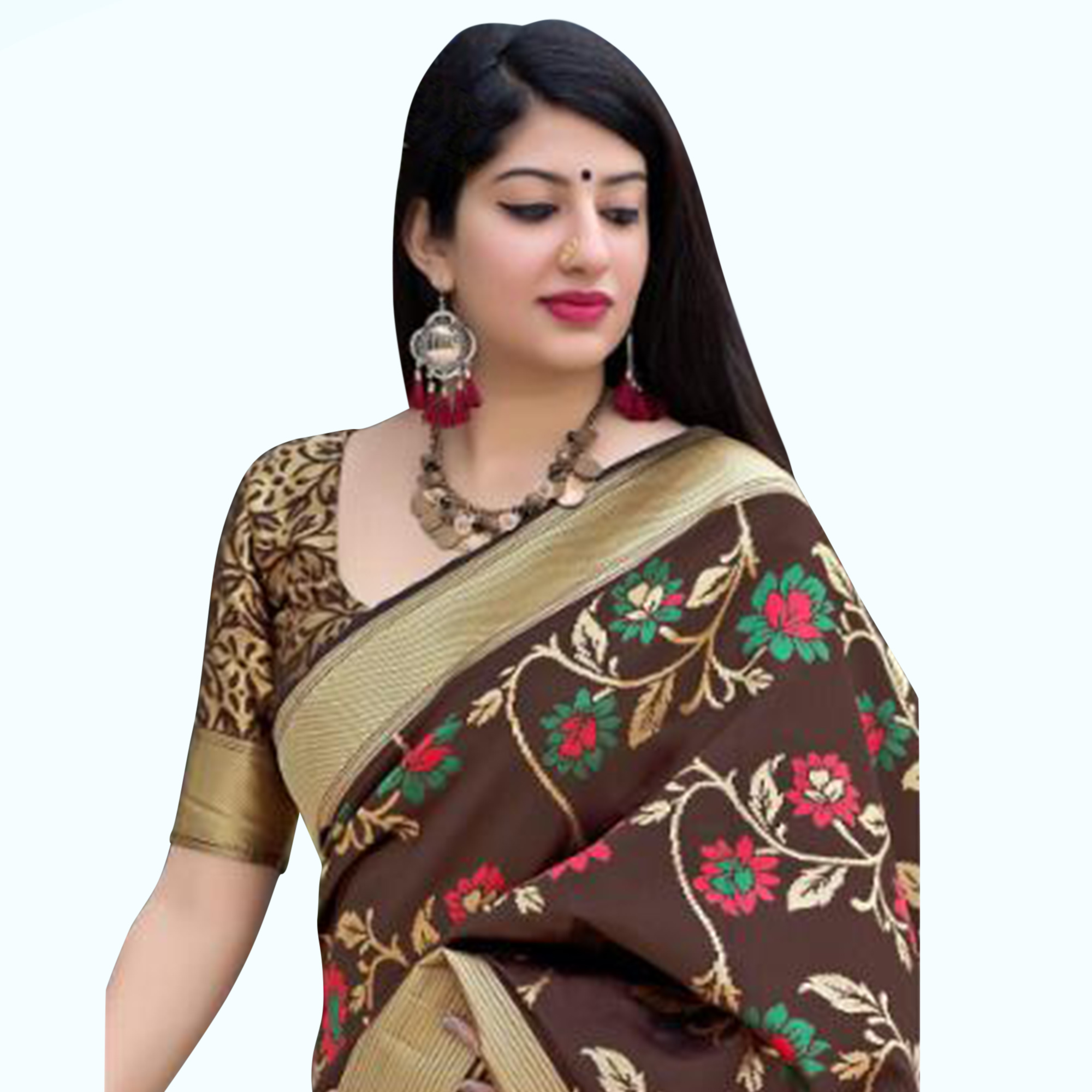 Desiring Brown Colored Festive Wear Woven Silk Saree