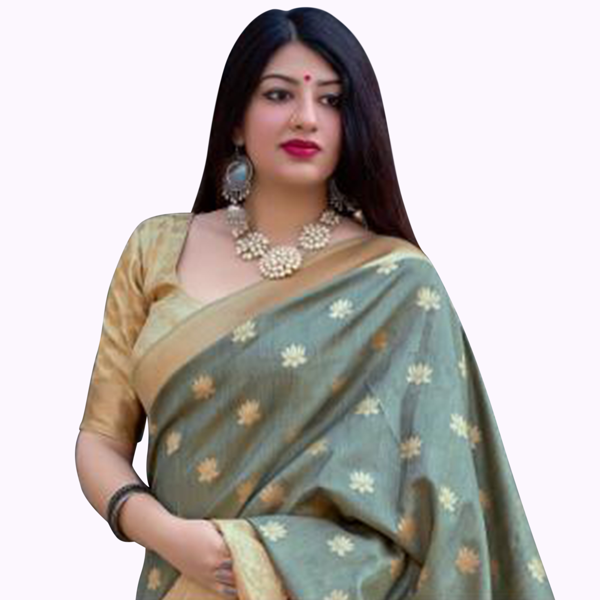 Blooming Pastel Green Colored Festive Wear Woven Silk Saree
