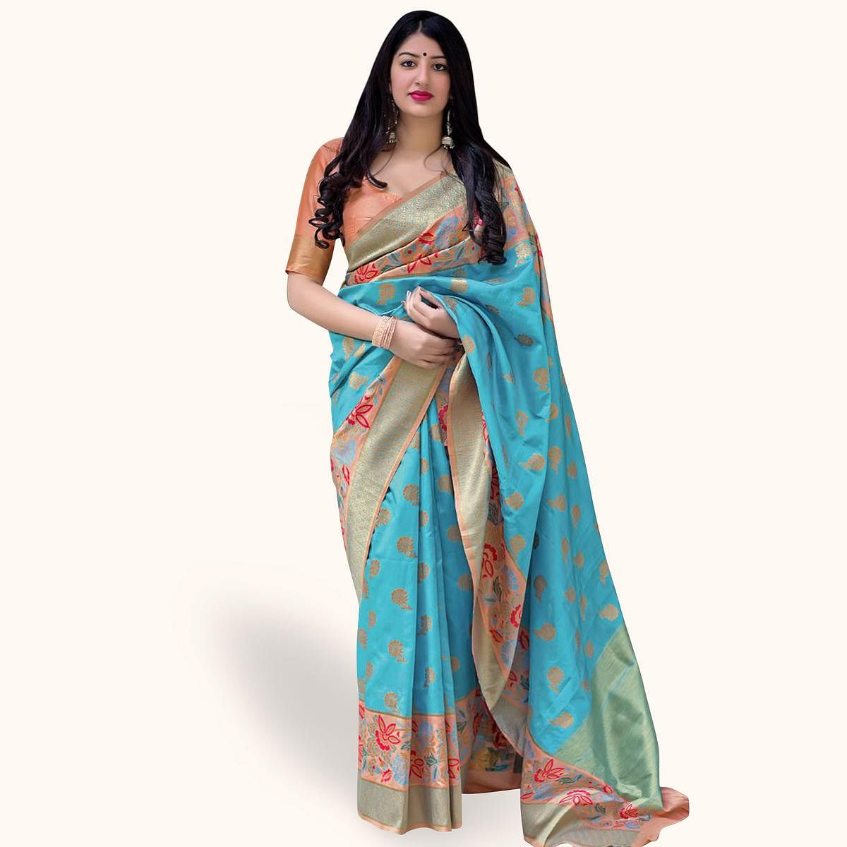 Gleaming Sky Blue Colored Festive Wear Woven Silk Saree