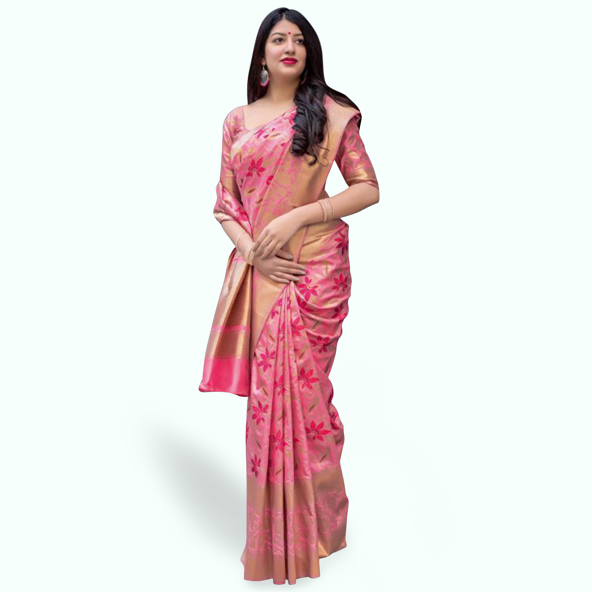 Refreshing Pink Colored Festive Wear Woven Silk Saree
