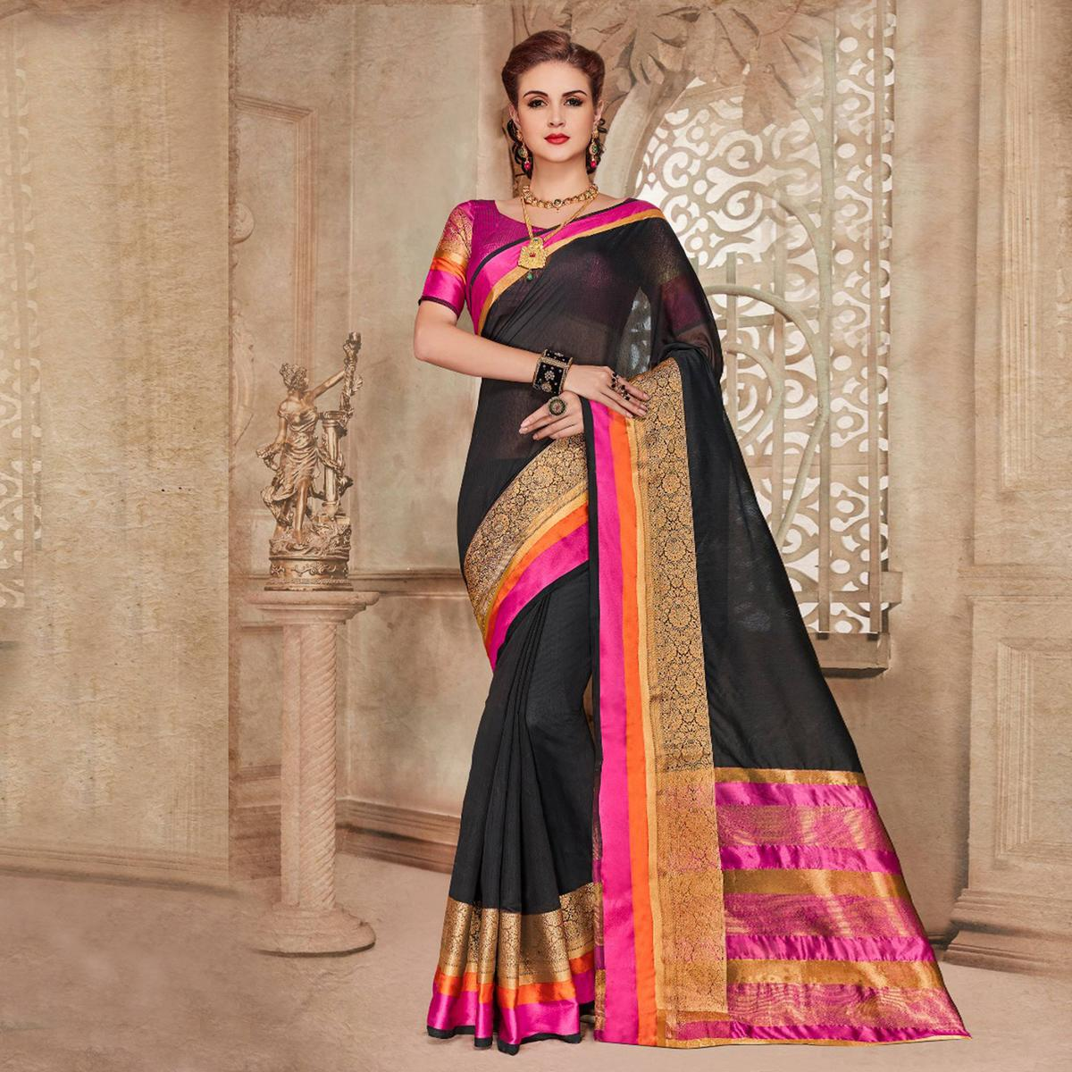 Black Designer Festive Wear Woven Liva Silk Saree