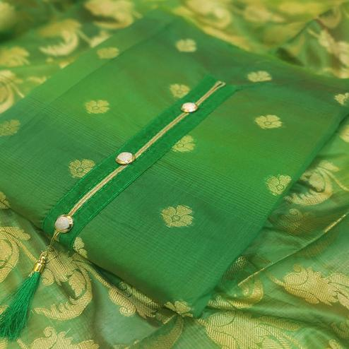 Beautiful Green Colored Festive Wear Woven Banarasi Silk Dress Material