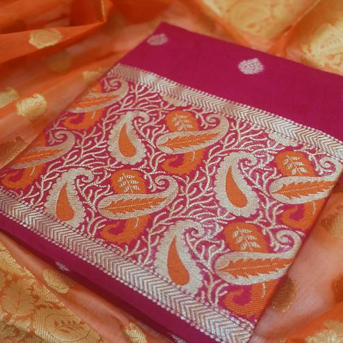 Demanding Pink Colored Festive Wear Woven Banarasi Silk Dress Material