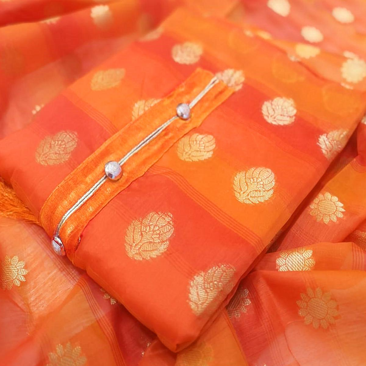 Marvellous Orange Colored Festive Wear Woven Banarasi Silk Dress Material