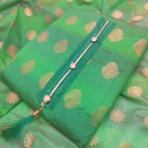 Flamboyant Green Colored Festive Wear Woven Banarasi Silk Dress Material