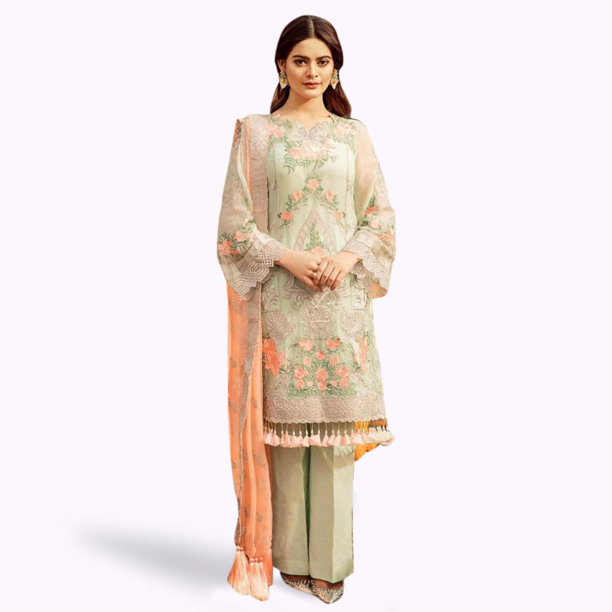Prominent Pastel Green Colored Partywear Embroidered Georgette Suit