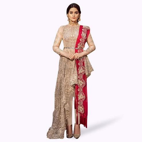 Hypnotic Beige Colored Partywear Embroidered Georgette Suit