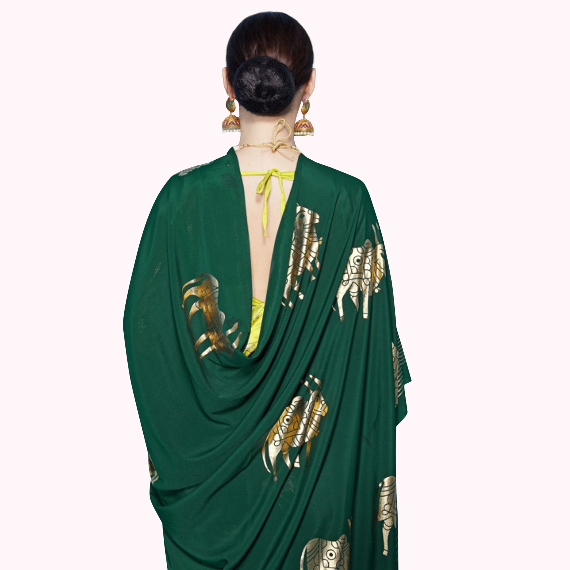 Attractive Green Colored Partywear Foil Printed Crepe Saree