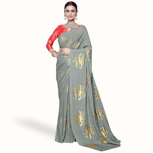 Classy Gray Colored Partywear Foil Printed Crepe Saree