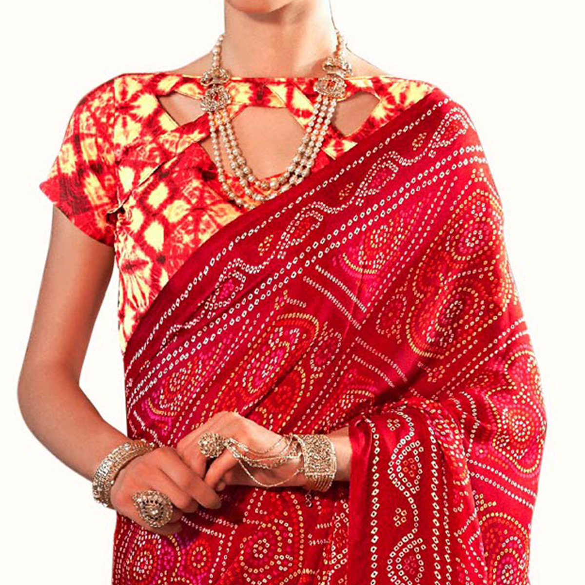 Delightful Red Colored Casual Printed Chiffon Saree