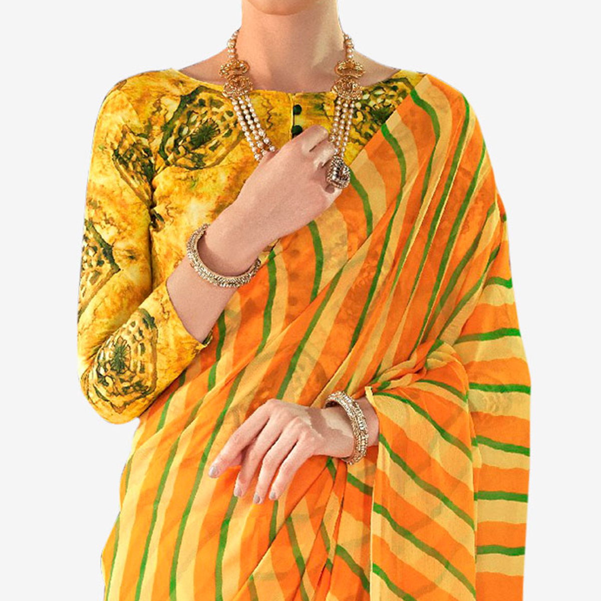 Captivating Yellow Colored Casual Printed Chiffon Saree