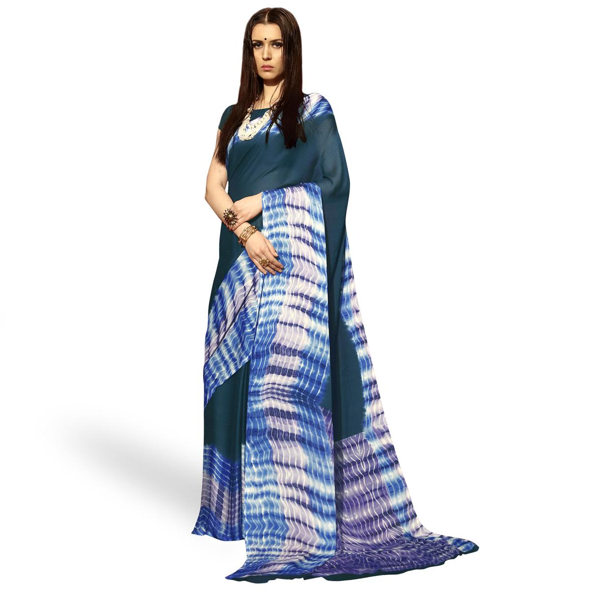 Marvellous Dark Gray Colored Casual Shibori Printed Moss Chiffon Saree