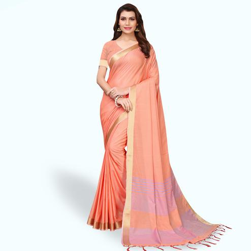Staring Peach Colored Festive Wear Cotton Linen Saree