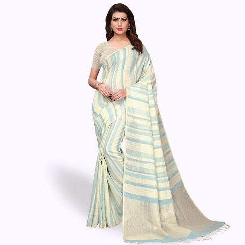Dazzling Cream Colored Festive Wear Cotton Linen Saree