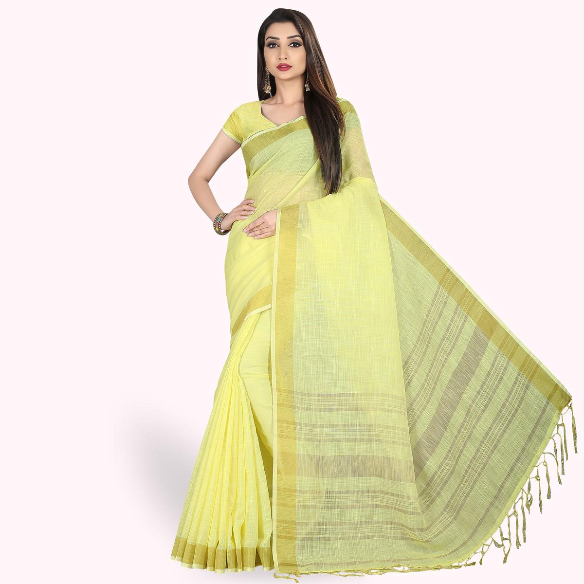 Intricate Lemon Green Colored Festive Wear Cotton Linen Saree
