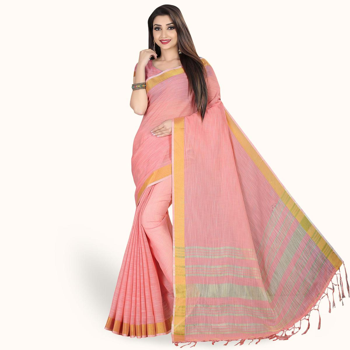 Arresting Pink Colored Festive Wear Cotton Linen Saree