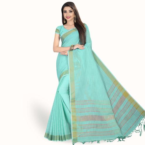 Desirable Aqua Blue Colored Festive Wear Cotton Linen Saree
