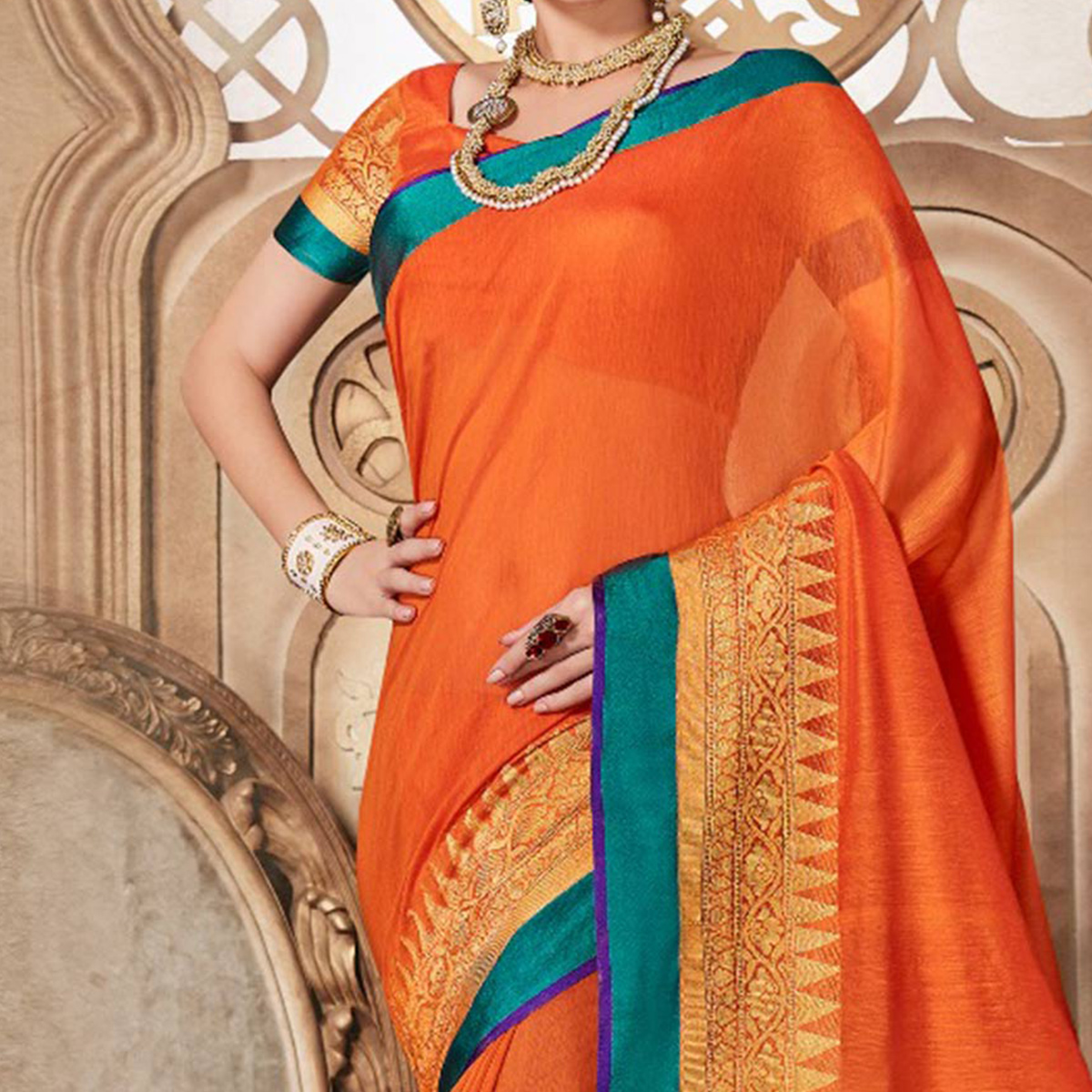 Orange Designer Festive Wear Woven Liva Silk Saree