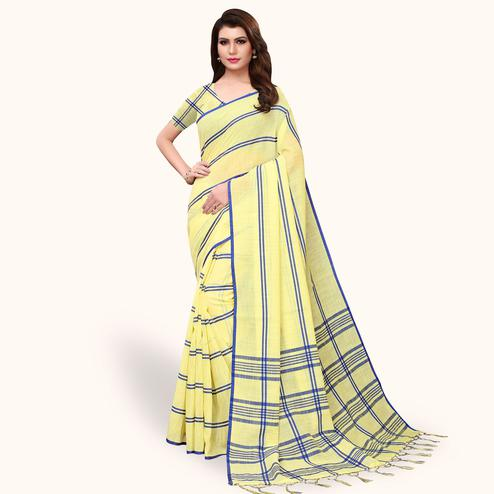 Trendy Yellow Colored Festive Wear Cotton Linen Saree