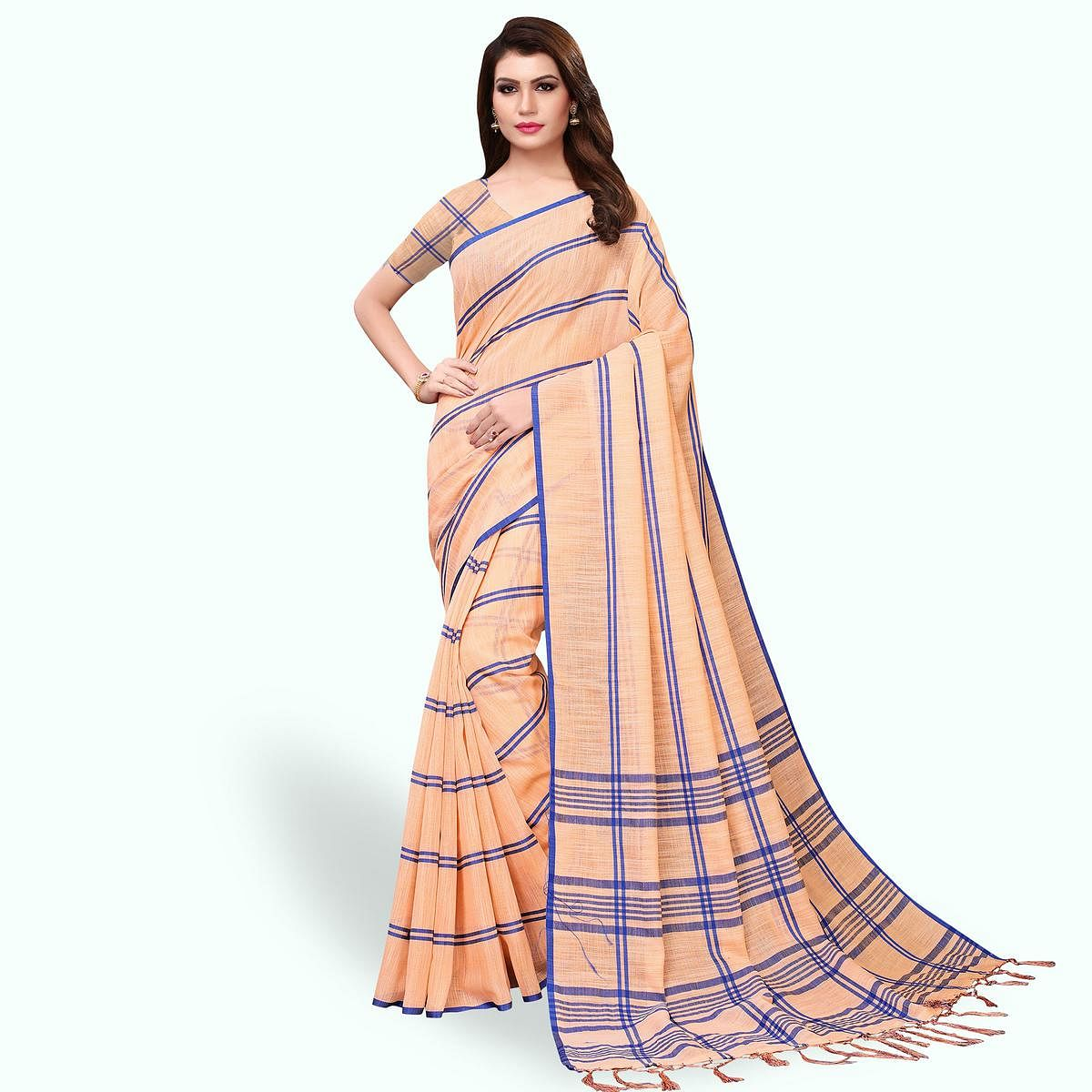 Elegant Peach Colored Festive Wear Cotton Linen Saree