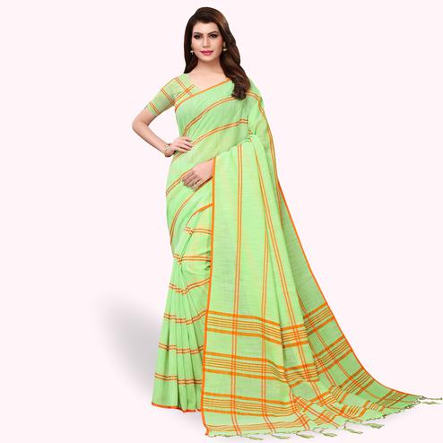 Radiant Green Colored Festive Wear Cotton Linen Saree