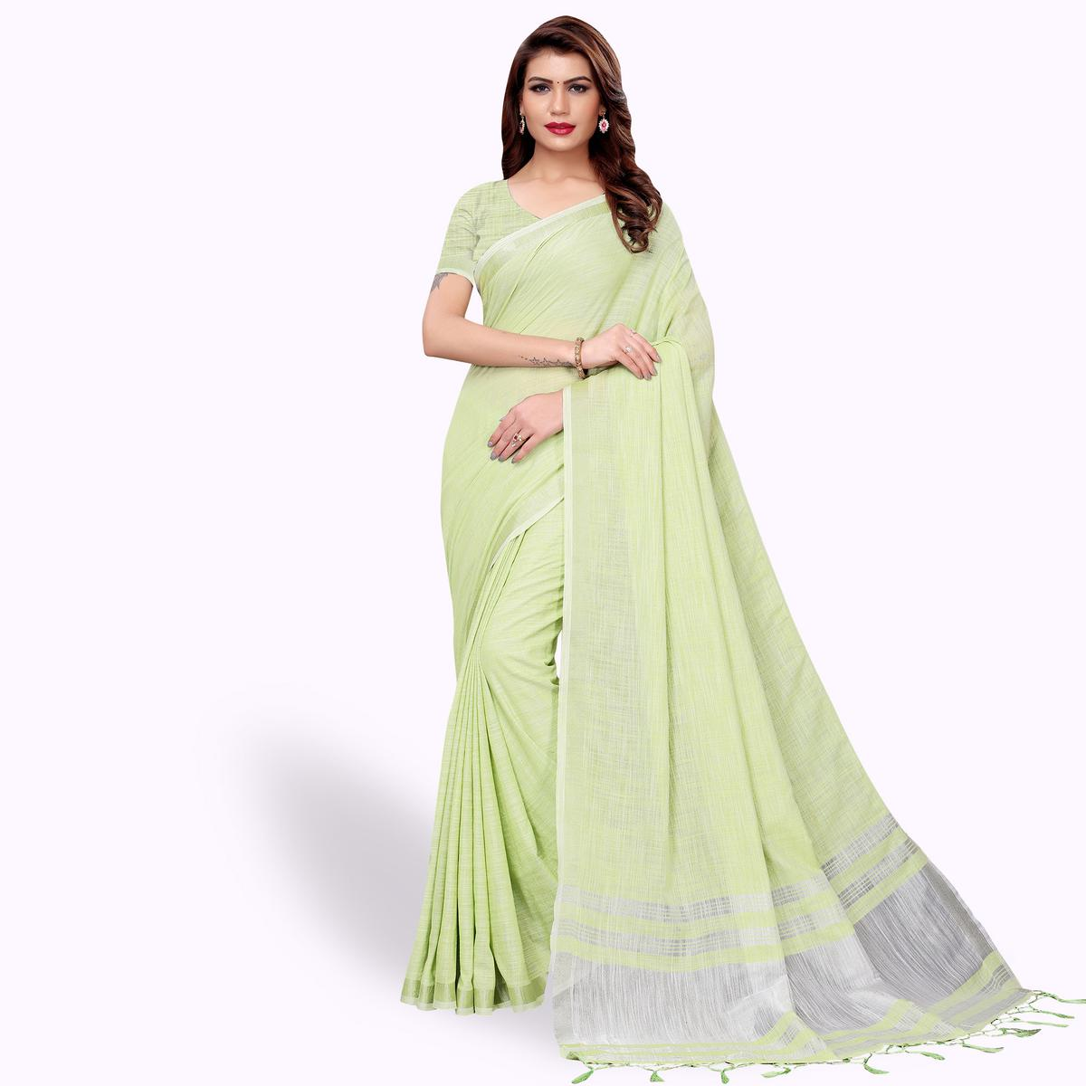 Energetic Pastel Green Colored Festive Wear Cotton Linen Saree