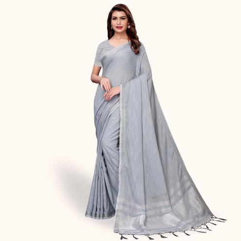 Glowing Gray Colored Festive Wear Cotton Linen Saree
