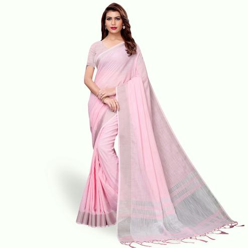Exceptional Pink Colored Festive Wear Cotton Linen Saree